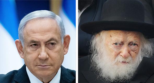 הרב חיים קנייבסקי וראש הממשלה בנימין נתניהו, צילום: אלכס קולומויסקי, יונתן זינדל/פלאש90