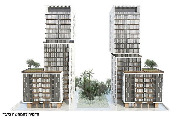 פרויקט הפינוי-בינוי ברחוב נגבה ברמת גן. ישלב מגורים, מסחר, מבני ציבור ושטחים ציבוריים פתוחים