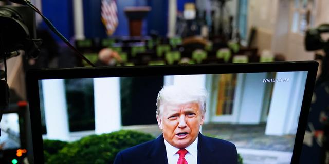 דונלד טראמפ בנאום בטוויטר בעקבות המהומות בקונגרס, צילום: אם סי טי
