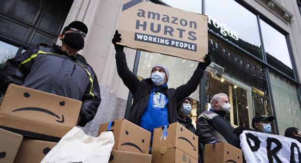 הפגנה של עובדי אמזון על תנאי עבודה. ארכיון