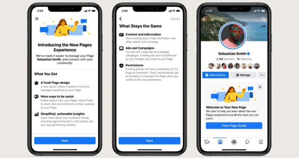 העיצוב החדש לדפים של פייסבוק, צילום: פייסבוק