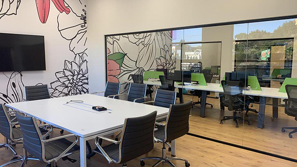 The Lotus hub's open work space provides religious Druze women with a safe place to work remotely for high tech companies. Photo: Gali Segev