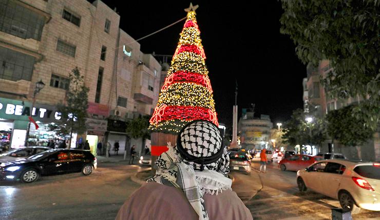 חגיגות חג המולד ברמאללה תחת הגבלות הקורונה, צילום: איי אף פי