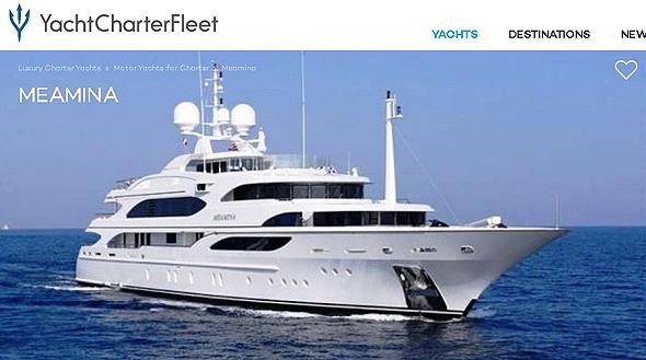 היאכטה המפוארת של שטיינמץ Meamina. חוזה פיקטיבי להשכרתה, צילום מסך מאתר: yachtcharterfleet.com