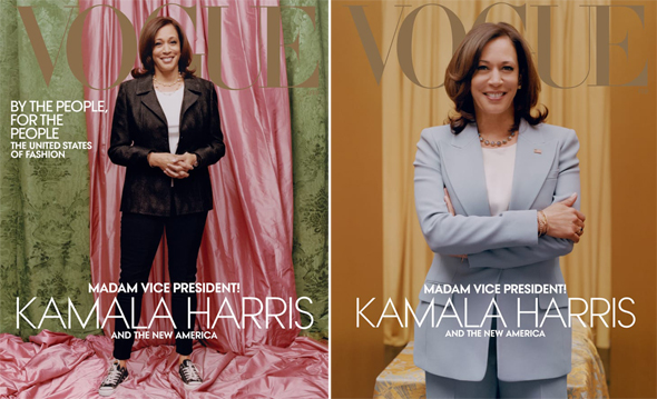 2 השערים. מימין: השער בדיגיטל עם חליפה בהירה והשער המודפס עם חליפה כהה ונעלי אולסטאר, צילום: Vogue