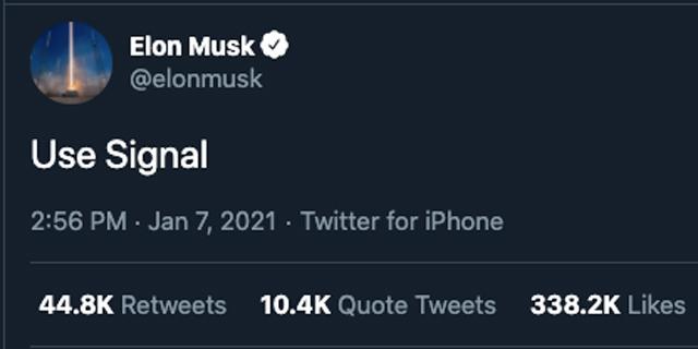 Elon Musk is among the fans of Signal. Photo:Twitter/ElonMusk