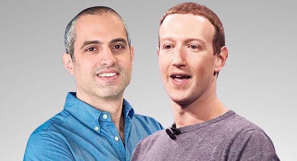 """מימין מנכ""""ל פייסבוק מארק צוקרברג וסמנכ""""ל התפעול ב ווייבר אופיר אייל, צילום: אי פי איי"""