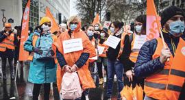הפגנה של עובדי מערכת הבריאות פריז צרפת, צילום: איי אף פי