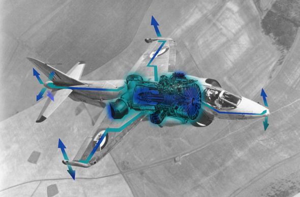 נהוג לחשוב שההארייר נשען על ארבעה אגזוזים בלבד. בפועל יש לו עוד עשרה נחירי דחף, בלעדיהם אי אפשר לשלוט בו במהירות איטית. בדגמים מאוחרים הוספו עוד שניים. זה בעצם, מטוס הסילון עם הכי הרבה אגזוזים, צילום: RAF,Wikimedia