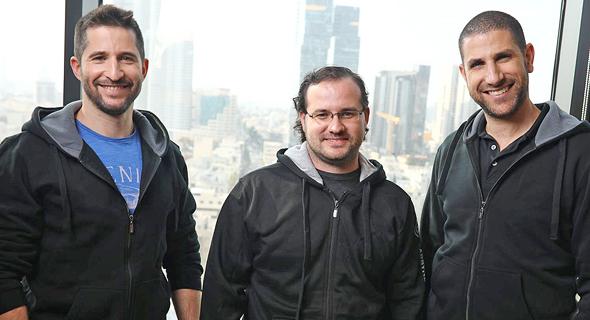 Carbyne co-founders Alex Dizengof (left), Yoni Yatsun, and Amir Elichai. Photo: Avi Finkelstein