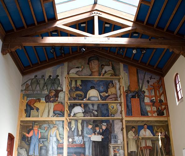 """""""יצירת ציור קיר המציג בנייתה של עיר"""" של דייגו ריברה. ניצל ממכירה, צילום: איי אף פי"""