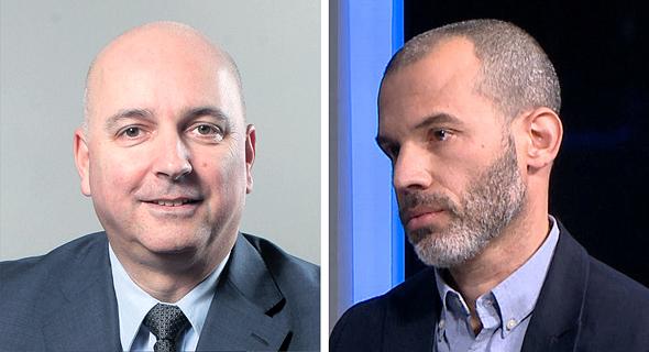 """מימין: אורי קרן מנהל ההשקעות במור גמל, אילן רביב מנכ""""ל מיטב דש"""