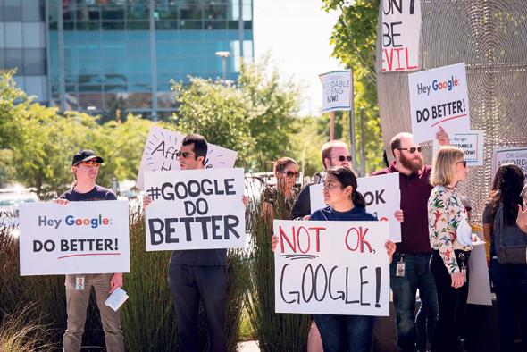 הפגנה של עובדי גוגל נגד מדיניות ההנהלה ב־2019, צילום: בלומברג