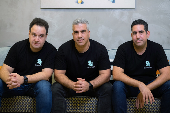 StackPulse co-founders Livni, Smadari, and Belkind. Photo: Guy Hamui