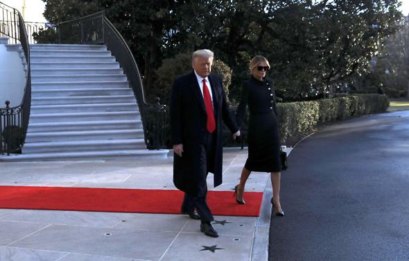 דונלד טראמפ ומלניה עוזבים את הבית הלבן סיום כהונתו כנשיא, צילום: רויטרס