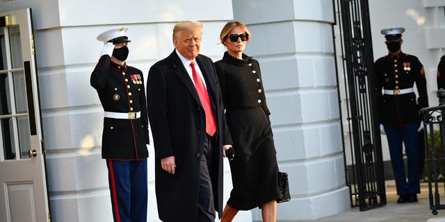 דונלד ומלניה טראמפ עוזבים את הבית לבן, צילום: איי אף פי
