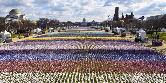 דגלים במקום אנשים בוושינגטון, צילום: איי אף פי