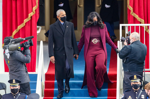 ברק ומישל אובמה בטקס ההשבעה, צילום: גטי