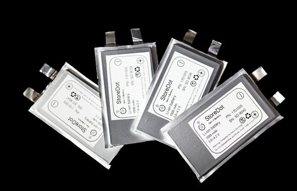 StoreDot's fast charging batteries. Photo: StoreDot