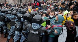 הפגנה ב מוסקבה רוסיה נגד ולדימיר פוטין בעקבות מעצרו של אלכסיי נבלני 2, צילום: רויטרס