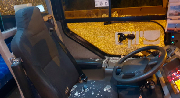 אוטובוס של עמאר רישיק שהותקף , צילום: ארגון הנהגים