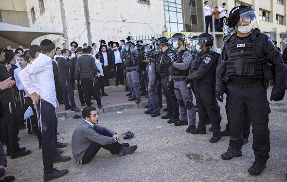 חרדים מתעמתים עם כוחות הביטחון (ארכיון)