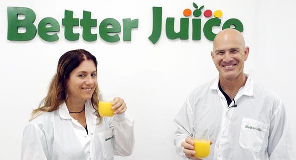 """מימין: ערן בלאצ'ינסקי מייסד ומנכ""""ל הסטארט-אפ Better Juice וגלי ירום מייסדת משותפת"""