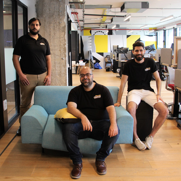 The co-founders of Obscure Games from right to left Abdulqadir, Bushnaq, and Horani