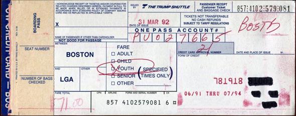 כרטיס טיסה של טראמפ שאטל, צילום: airticketshistory
