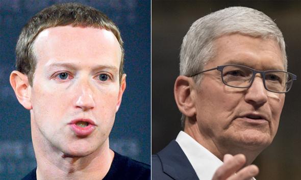 """משמאל מארק צוקרברג מנכל פייסבוק ו טים קוק מנכ""""ל אפל, צילומים: בלומברג, איי אף פי"""