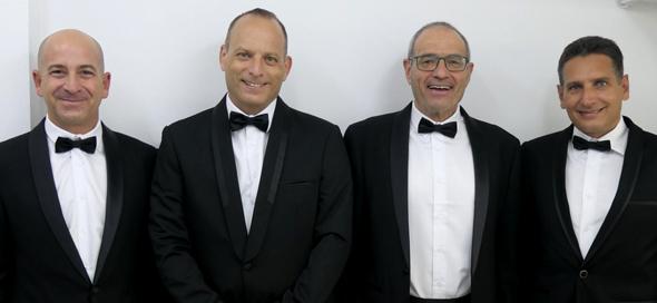 Oscar winners Guy Dorman (left), Zvi Reznic, Meir Feder, and Ron Yogev. Photo: Tel Aviv University