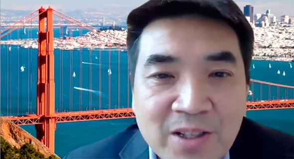"אריק יואן, מנכ""ל זום על רקע גשר סן פרנסיסקו"