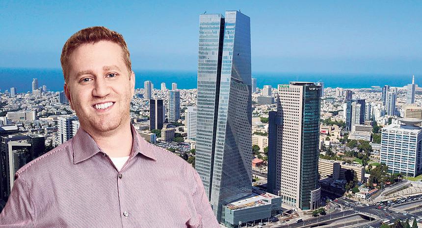 מנהל הפיתוח של דרופבוקס בארץ יונתן סרוסי על רקע מגדל עזריאלי שרונה, צילום: יאיר שגיא