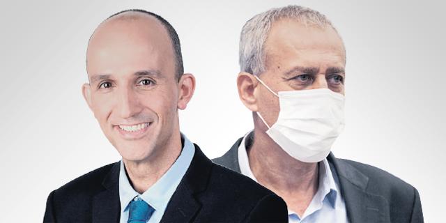 """מימין: פרויקטור הקורונה נחמן אש ומנכ""""ל קופת חולים לאומית חיים פרננדס. האם להעניק הטבות רק למחוסנים או גם למחלימים, צילומים: טל שחר, חגית גורן"""