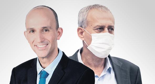 """מימין: פרויקטור הקורונה נחמן אש ומנכ""""ל קופת חולים לאומית חיים פרננדס. האם להעניק הטבות רק למחוסנים או גם למחלימים"""
