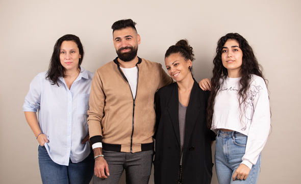 Amira (East Jerusalem), Mahmoud (Ramallah), and Shai (Tel Aviv) spoke with CTech. They are pictured with a fourth member, Chloe. Photo: Peres Center for Peace and Innovation