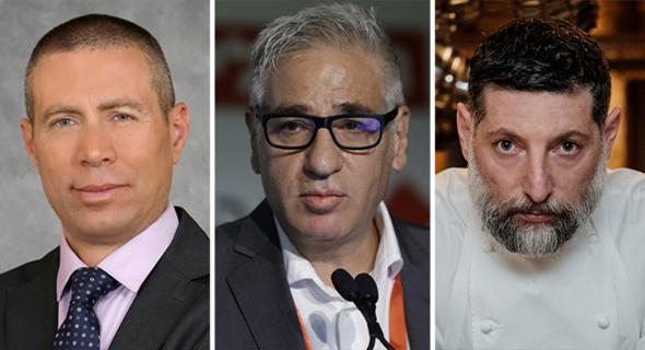 """מימין: השף אסף גרניט, נשיא התאחדות המלונות אמיר חייק, מנכ""""ל קבוצת מליסרון אופיר שריד"""