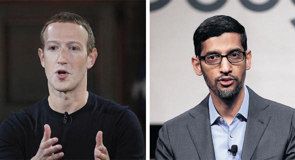 """מימין מנכ""""ל גוגל סונדאר פיצ'אי, ומנכ""""ל פייסבוק מארק צוקרברג"""