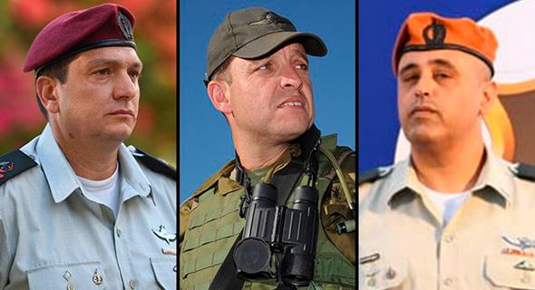 """מימין: האלוף תמיר ידעי, ימונה למפקד זרוע היבשה (מז""""י); אליעזר טולדנו, יועלה לדרגת אלוף וימונה למפקד פיקוד הדרום; האלוף אהרון חליוה, ימונה לראש אגף המודיעין (אמ""""ן)"""