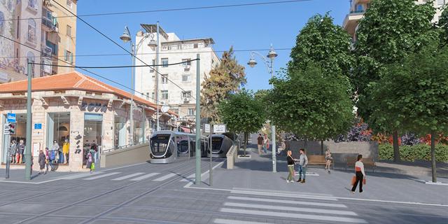 הדמיה. הקו הכחול בירושלים חוצה את רחוב יפו