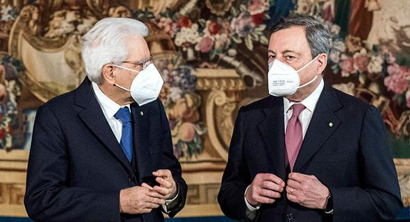 דראגי והנשיא מטרלה, צילום: אי פי איי