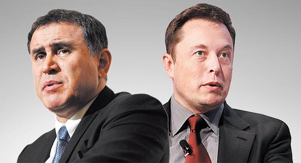"""מימין מנכ""""ל טסלה אילון מאסק והכלכלן נוריאל רוביני, צילום: רויטרס, בלומברג"""