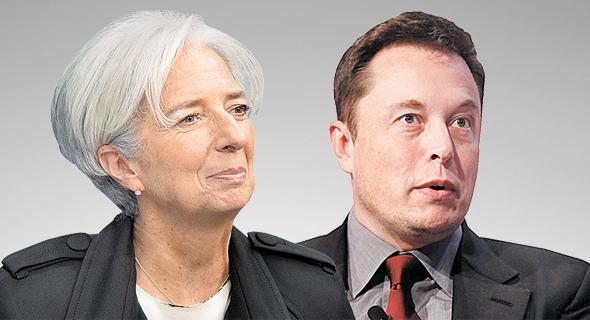"""מימין מנכ""""ל טסלה אילון מאסק ונשיאת הבנק המרכזי האירופי כריסטין לגארד, צילום: רויטרס, בלומברג"""