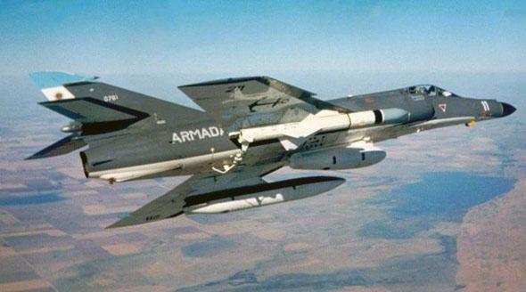 סופר אטנדאר ארגנטינאי עם טיל אקזוסט. שימו לב לגודלו ביחס למטוס, צילום: mercopress