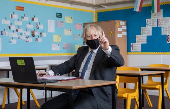 בוריס ג'ונסון בשיעור מקוון, אתמול בלונדון