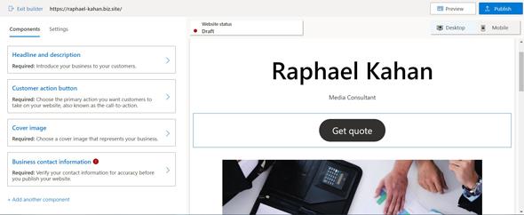 מערכת הקמת אתר אינטרנט של מיקרוסופט, מקור: צילום מסך אתר מיקרוסופט