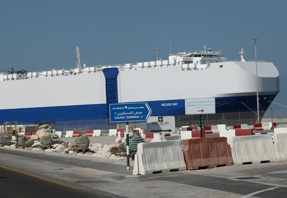 אניית משא ספינה הליוס ריי עוגנת ב דובאי גיל אגמון פיגוע מפרץ עומאן, צילום: איי פי