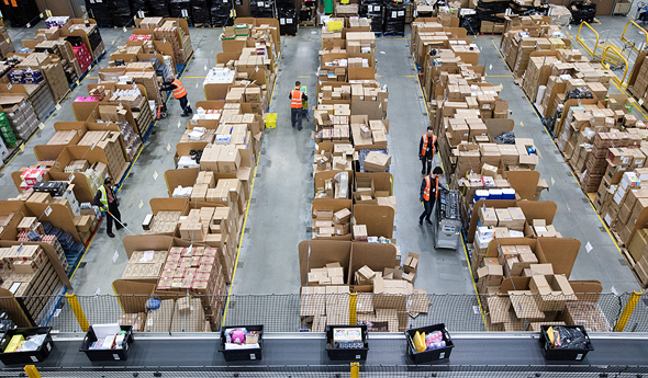 An Amzon logistics center in the UK. Photo: Bloomberg