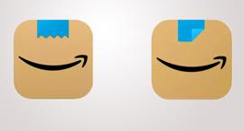 לוגו אפליקציית אמזון - משמאל, דומה להיטלר, מימין - הלוגו המעודכן
