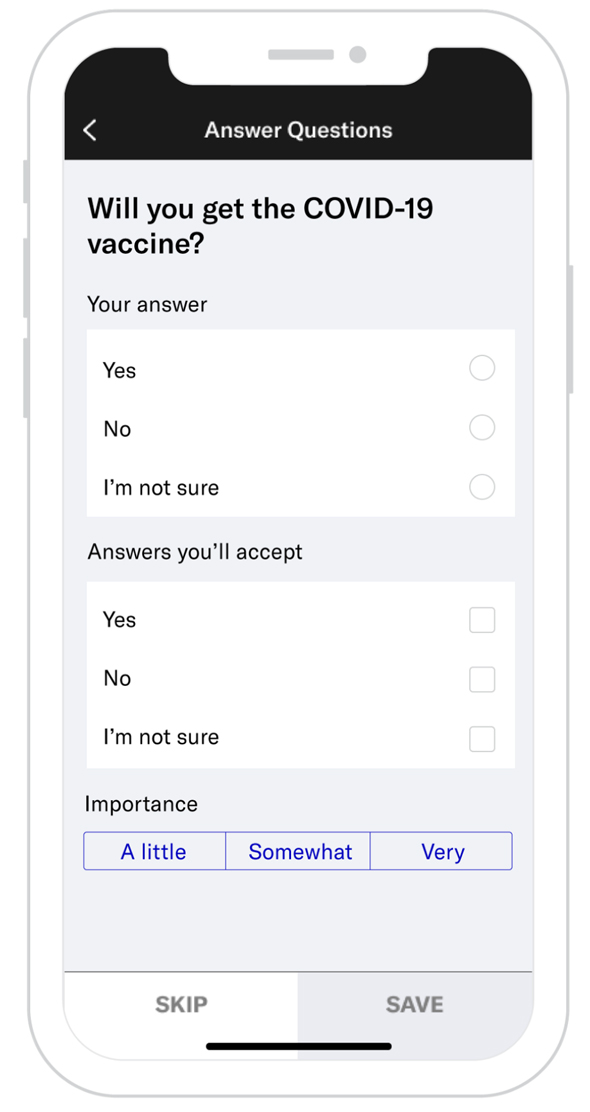 In Israel, 83% of users who answered the question intend to get vaccinated.. Photo: OkCupid